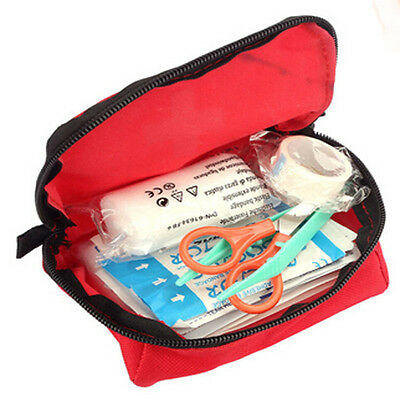 Emergency Survival FIRST AID KIT Bag Treatment Pack Travel Sports Medical RedNew