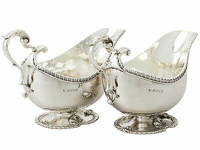 Antique George V Pair of Sterling Silver Gravy Boats- Regency Style - 1929