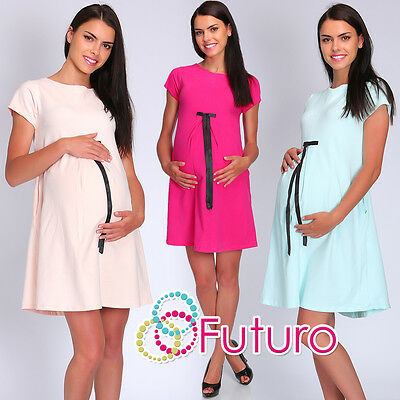 Maternity Shift Dress With Bow & Zip Pregnancy Casual Tunic Size 8-12 FT1960