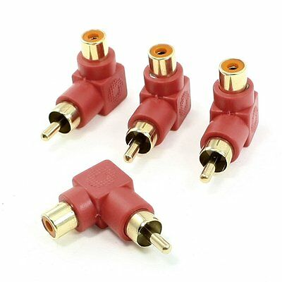 4 x RCA Male-Female Right Angle Audio Video Adapter Red Gold Tone BTSZUK