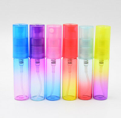 12PCS COLORFUL 5ml Glass Refillable Perfume Empty Bottle Atomizer Pump Spray