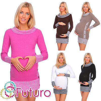 Winter Warm Maternity Jumper Boat Neck Cardigan Knitted Dress Tunic Buttons FR04