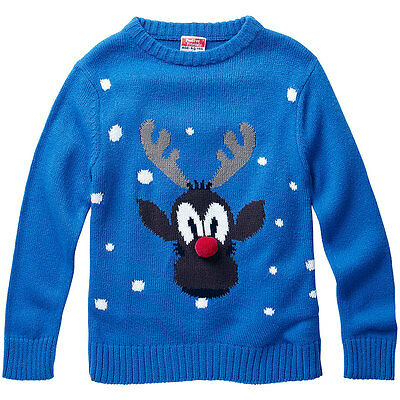 Baby Toddler Boys Rudolph Red Nose Reindeer Christmas Novelty Knitted Jumper