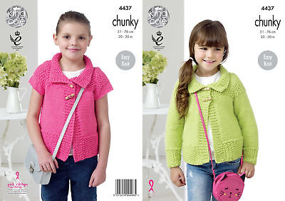 King Cole Girls Chunky Knitting Pattern Easy Knit Long Cap Sleeved Cardigan 4437