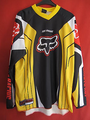 Maillot MOTO CROSS FOX Jaune et noir Racing course enduro VTT TBE- XXL