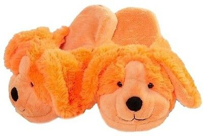 MY PILLOW PETS NEONZ PUPPY size LARGE SLIPPERS TOY PLUSH NEW DOG ORANGE CUDDLE