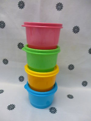 Tupperware Tuppercare Snack Cups Set of 4 Pink Blue Yellow Green New