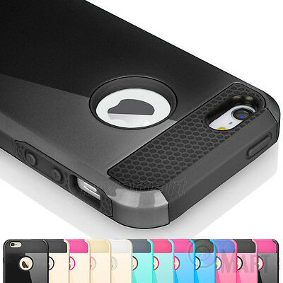 For Apple iPhone SE 5 5S Shockproof Dust Proof Hybrid Rubber Hard Case Cover