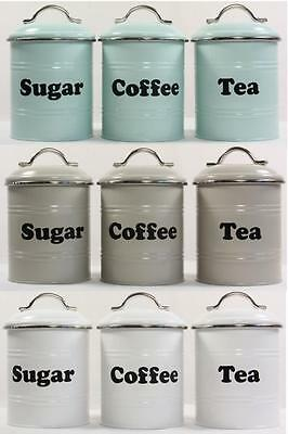 3 Piece Set Metal Retro Vintage Tea Coffee Sugar Kitchen Canisters 3 Colours