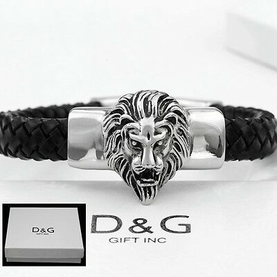 "DG Mens 8.5"" Stainless Steel,Silver Black Braided Leather,LION HEAD,Bracelet.BOX"