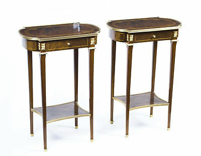 Pair Burr Walnut Occasional Side Tables