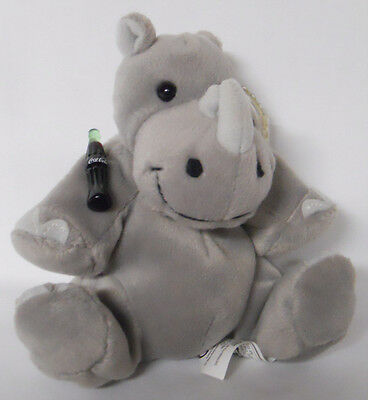 1999 Coca-Cola Tanzania Rhiny the Black Rhinoceros Mini Bean Bag-Beanie-Rhino