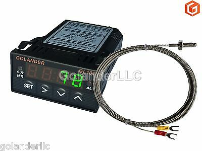 Universal 1/32DIN Digital PID Temperature Controller, Green with K thermocouple