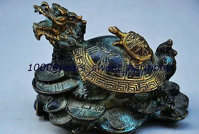 Vintage Chinese Bronze Gilt Dragon Turtle Statue