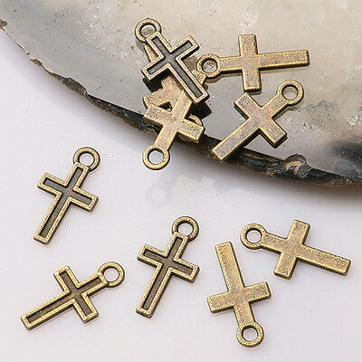70pcs antiqued bronze color mini cross  design  charms  EF3463