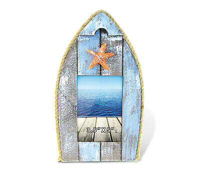 Puzzled Rustic Wooden Boat Picture Frame with Starfish 3.5 X 5 Inch Sculptural P