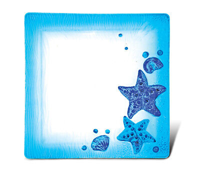 Glass Décor - 10.5 Inch Blue Square Plate - Starfish