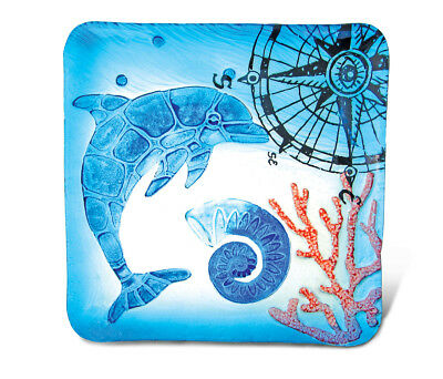 Glass Décor - 12 Inch Blue Square Plate - Dolphin