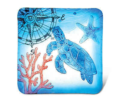 Glass Décor - 12 Inch Blue Square Plate - Sea Turtle