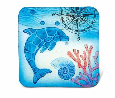 Glass Décor - 8 Inch Blue Square Plate - Dolphin