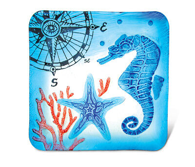 Glass Décor - 12 Inch Blue Square Plate - Seahorse