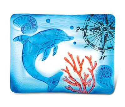 Glass Décor - 12 Inch Blue Rectangle Plate - Dolphin