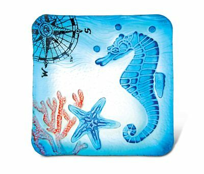 Glass Décor - 8 Inch Blue Square Plate - Seahorse