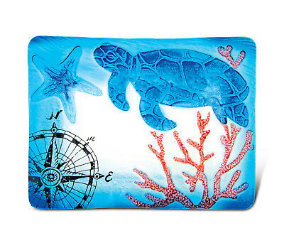 Glass Décor - 12 Inch Blue Rectangle Plate - Sea Turtle