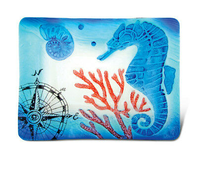 Glass Décor - 12 Inch Blue Rectangle Plate - Seahorse
