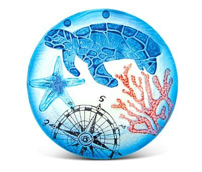 Glass Décor - 8 Inch Blue Circle Plate - Sea Turtle