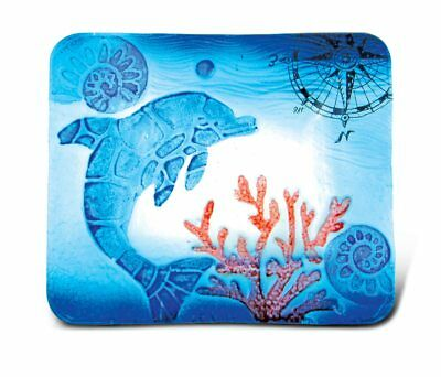 Glass Décor - 7 Inch Blue Rectangle Plate - Dolphin