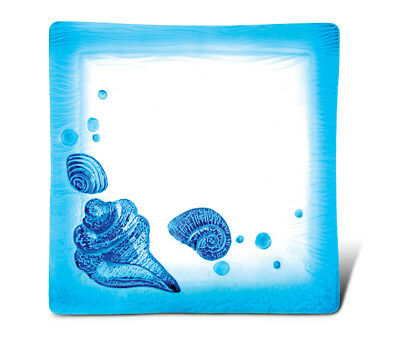 Glass Décor - 10.5 Inch Blue Square Plate - Asst Beach Shells
