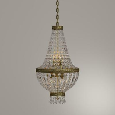 "French Metropolitan Antique Bronze Crystal Basket Chandelier Traditional 12""x20"""