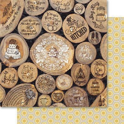 """Bella! Get Hitched Double Sided Cardstock 12""""X12"""" Rustic GH68"""