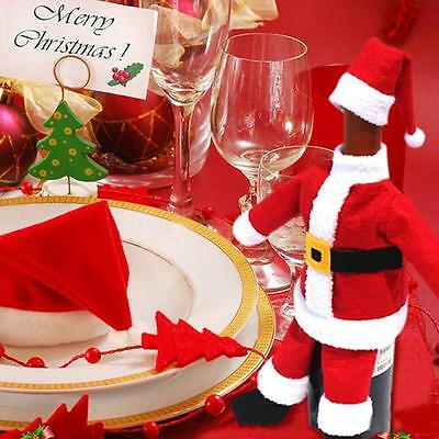 Red Santa Claus Wine Bottle Cover Wrap Bags Christmas Xmas Party Table Decor Z