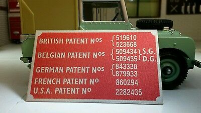 Land Rover Series 1 2 litre Petrol Rocker Cover Patent Info Plate Repro 213245