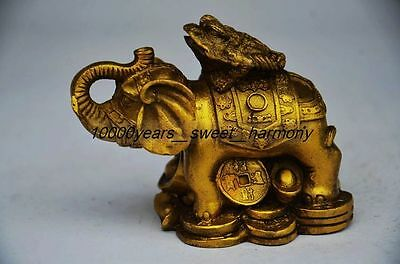 Superb Chinese Brass Gilt Elephant&toad Statue