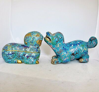 Antique or Vintage Chinese Blue Cloisonne Dog Statue & Ram Box w/ Archaic Design