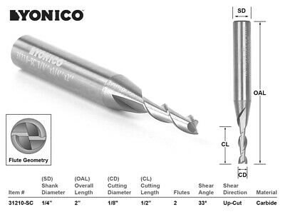 "1/8"" Dia. Upcut Spiral End Mill CNC Router Bit - 1/4"" Shank - Yonico 31210-SC"