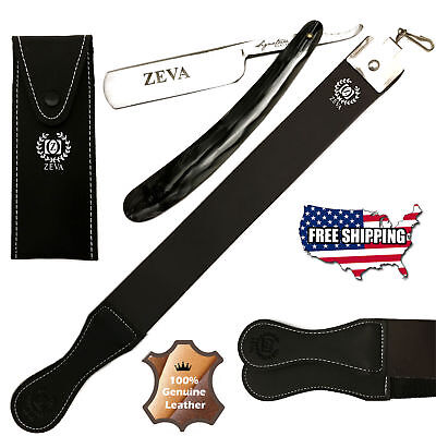 Men's 3 Pc Wet Shave Straight Edge Razor Leather Sharpening Strop Strap + Pouch