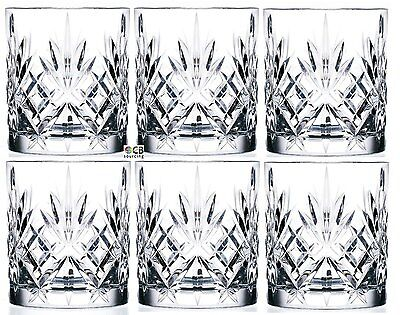 RCR Crystal Cut Melodia Whisky Glasses Cups Tumblers 310ml Set of 6 Boxed