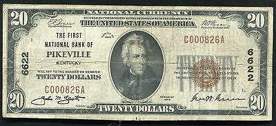 1929 $20 The First National Bank Of Pikeville, Ky National Currency Ch. #6622