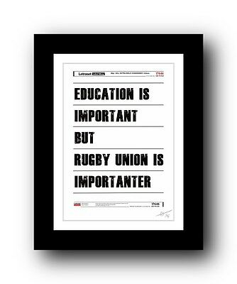 Rugby Union ❤ poster art signed limited edition print - cool gift present