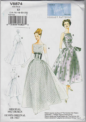 From UK Sewing Pattern Dress 1957 style Size 14 - 22  # 8874