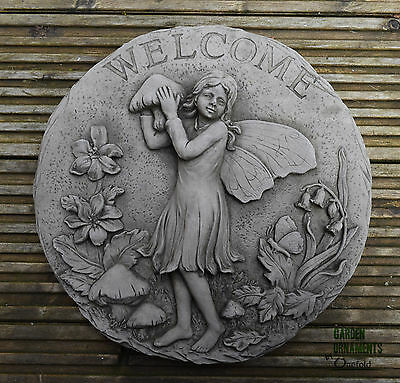 FAIRY WELCOME SIGN WALL PLAQUE Hand Cast Stone Garden Ornament ⧫onefold-uk