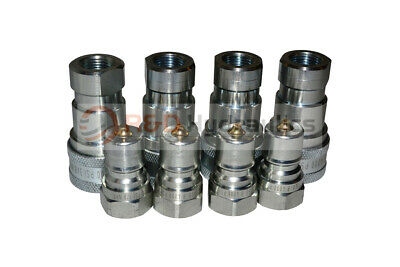 """4 Sets of 3/8"""" ISO 7241-B Hydraulic Quick Disconnect Couplers"""