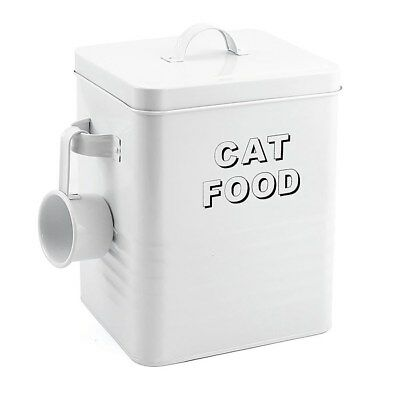 White Enamel Cat Food Storage Tin Box Bin - Pouches Treats Dry Food Biscuits