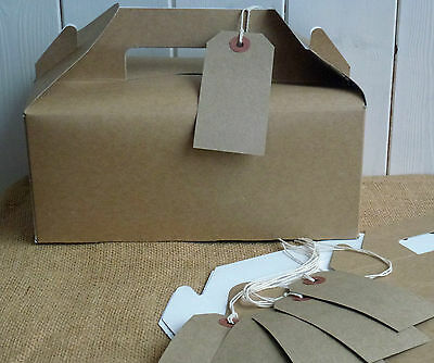 Large Blank Kraft Gift Box Xmas Wedding Favor Birthday Party Carry Boxes & Tags