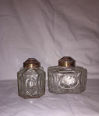 Antique Russian Clear Crystal Glass Tea Caddy Pair