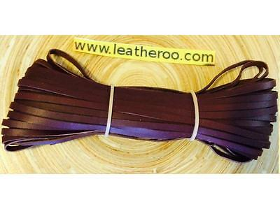 "Kangaroo Lace BRANDY Kangaroo Leather Lacing 4.7mm (3/16"") Width 10 meter hank"